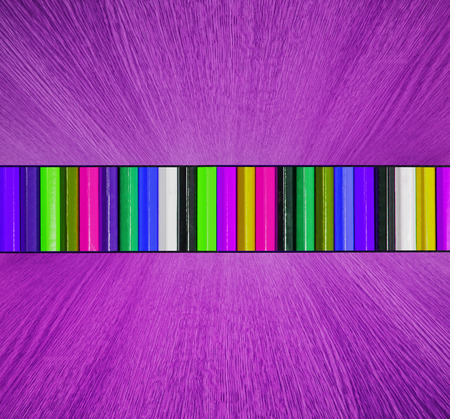 ceiling texture: Multicolor backdrop, with purple wooden floor and ceiling in diminishing perspective -  creative, fun, colorful abstract background texture. Stock Photo