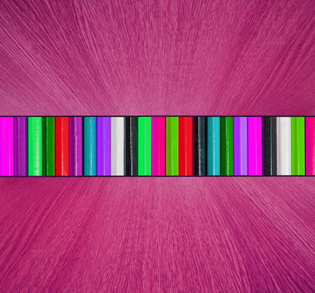 diminishing perspective: Multicolor backdrop, with pink wooden floor and ceiling in diminishing perspective -  creative, fun, colorful abstract background texture.