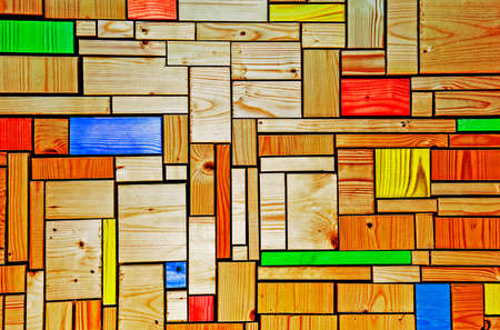 off cuts: Wood blocks grid - background texture, in square and rectangle abstract patterns, with different color pieces.