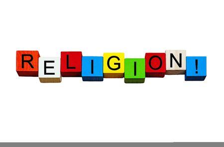 hinduism: Religi�n - palabra  signo  banner - para actividades espirituales, religiones y conceptos religiosos, desde el cristianismo, el juda�smo, el Islam, el budismo y el hinduismo a alternativa, Nueva Era y el ate�smo - aisladas sobre fondo blanco.