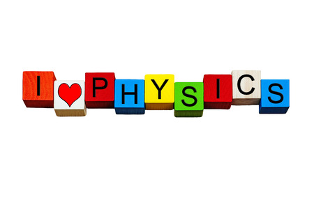 quantum physics: I Love Physics - sign  banner or design for physics subject, science, physics lessons, physics equations, quantum physics, education & teaching - isolated on white background. Stock Photo