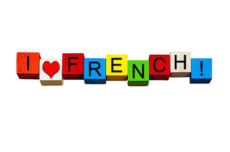 soumis: J'aime Français - signe  bannière ou la conception pour le français sous réserve de la langue, des cours de français, l'éducation et l'enseignement - isolé sur fond blanc. Banque d'images