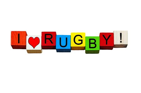 spectators: I Love Rugby - fun sign  banner for playing rugby sports, game of rugby, rugby fans and spectators - isolated on white background. Stock Photo