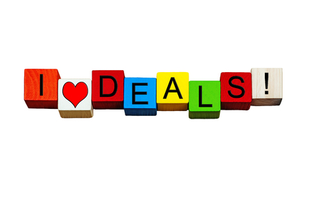 bargains: I Love Deals, sign for bargains, cash concepts, reduced items, shopping, business deals and transactions! Isolated on white background. Stock Photo