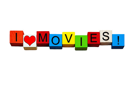 love movies: I Love Movies - sign, design or banner - for making, loving and watching films, flicks, cinema, screen writing & the movie business! Isolated on white background.