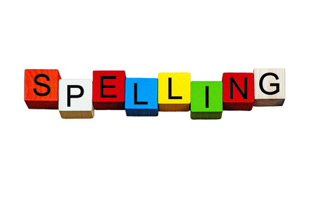 learning series: Spelling - English language sign series for learning, writing skills, grammar, punctuation, vocabulary, education, teaching English & school subjects - isolated on white background. Stock Photo