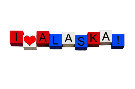 anchorage: I Love Alaska - sign series for American states, Juneau, Anchorage, USA vacations & travel destinations - design  banner  word - in national flag colors - isolated on white background.