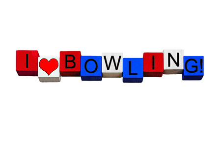 weber: I Love Bowling, design for tenpin bowling fans, players, strikes, turkeys, games & sports - sign  design  flag   banner  word - in American national flag colors - isolated on white background. Stock Photo