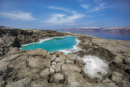 He Dead Sea also called the Salt Sea, is a salt lake, bordered by Jordan to the east and Israel and the West Bank to the west. Its surface and shores are 429 meters below sea level, Earths low elevation on land. The Dead Sea is 304 m deep, the deepest hy