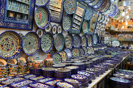 Ceramic plates and other souvenirs for sale located on Arab baazar inside the walls of the Old City of Jerusalem