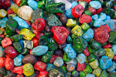 The red and green coralls, turquoise, lapis lazuli and other jewelry stones are the favorite tourist souvenirs in Eastern countries, Jerusalem, Israel.