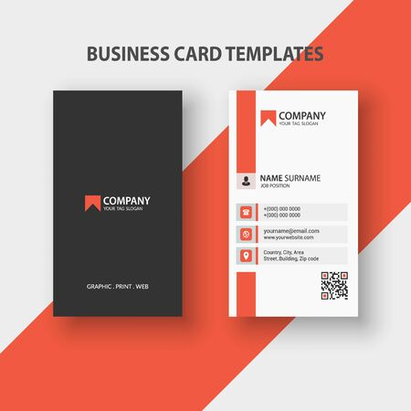 Modern Vertical Double-sided Business Card Template. Stationery Design, Flat Design, Print Template, Vector illustration