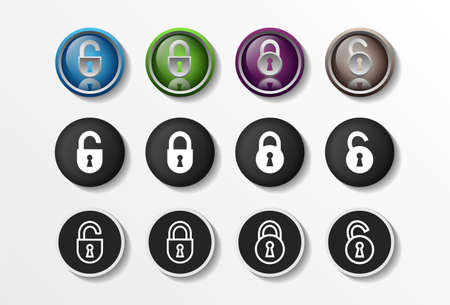 Lock Icons Set Realistic Closed and Opened, security flat design vector illustration in 4 colors options for web design and mobile applications. Vector illustration Vetores