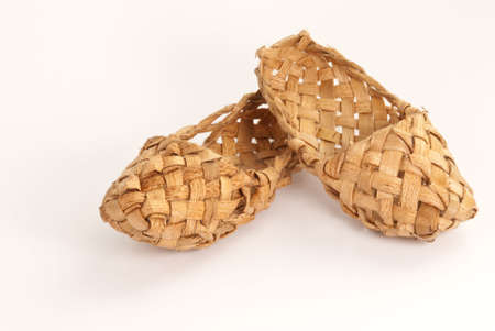 Old russian ethno home shoes (lapty)
