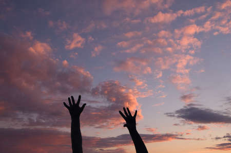 Silhouettes of two women's hands at sunset Stock Photo - 4784665