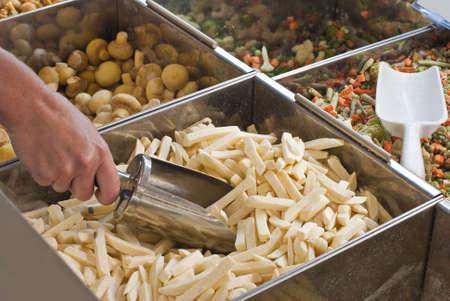 Buying frozen French fries in supemarkete