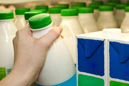 Buying milk in a supermarket