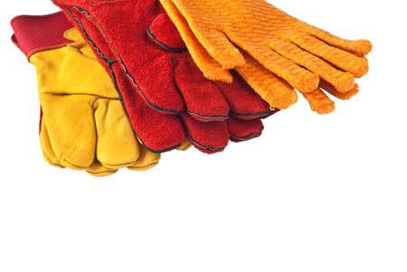 Construction protective gloves isolated against white background photo