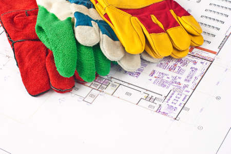 Multicolored construction protective gloves  photo