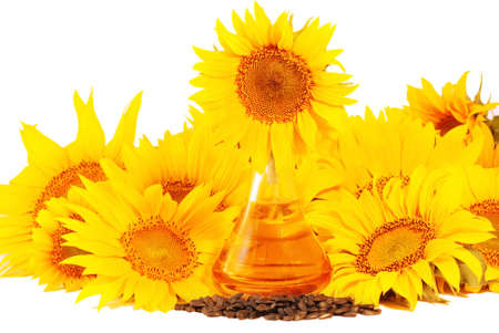 Sunflowers, oil and seeds  isolated on white background Stock Photo - 5273268