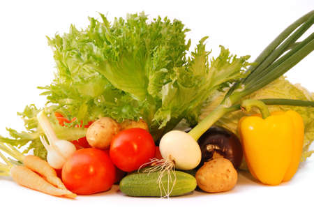 Fresh vegetables isolated on white background Stock Photo