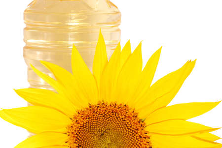 Sunflowers and oil isolated on white background Stock Photo - 5321151