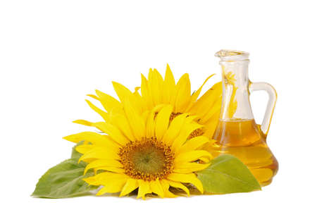 Sunflowers and oil   isolated on white background Stock Photo - 5321152