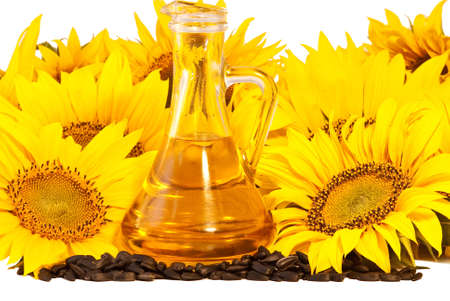 sunflowerseed: Sunflowers, oil and seeds  isolated on white background