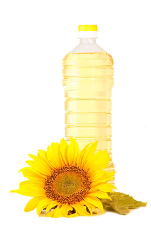 Sunflowers and oil  isolated on white background Stock Photo - 5321155
