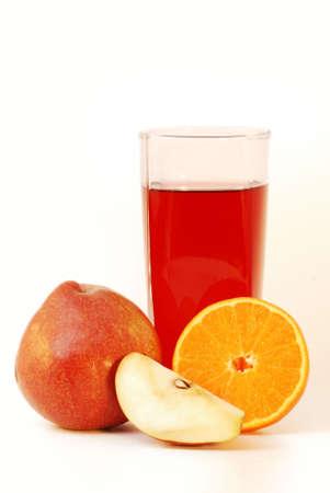 Multifruit juice against white background photo
