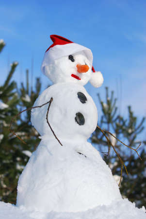 Winter scene with  snowman on  blue sky background