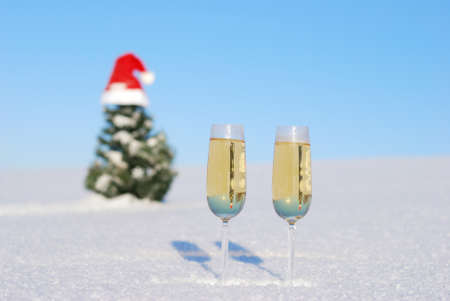 12 oclock: Glasses of  champagne  against christmas background
