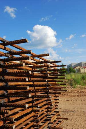 armature: steel building armature on blue sky background Stock Photo