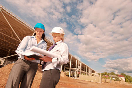 Two engineers at  construction site Stock Photo - 10335977