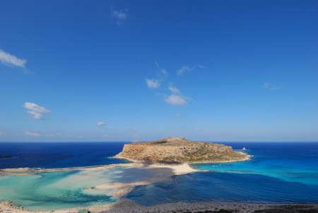 View of the lagoon Ballos(Balos) and the island Gramvousa, Crete, Greece   Stock Photo