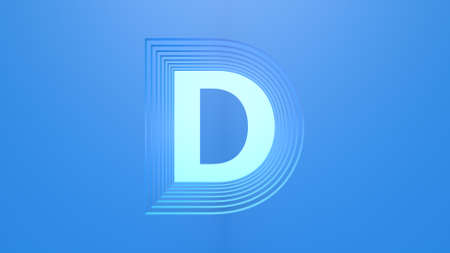 A 3D capital letter in light blue color with a dark blue background. Layered design.
