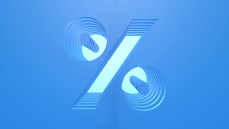 A 3D mathematical sign in light blue color with a dark blue background. Layered design.
