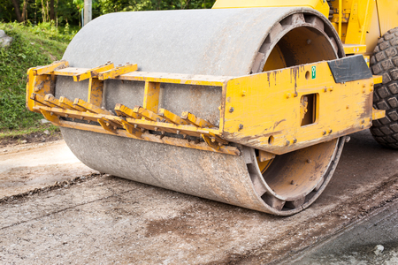 compaction: Road rollers during asphalt compaction works Stock Photo
