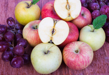 mixed set of fresh raw ripe fruits apple grape Banque d'images