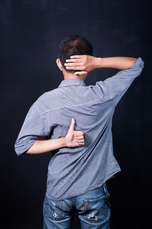 Young man with neck pain Banque d'images