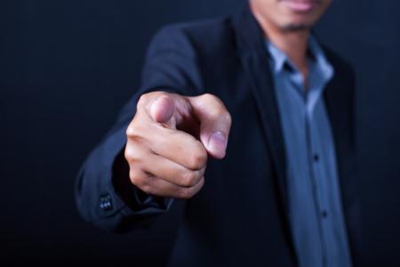 Businessman hand pointing