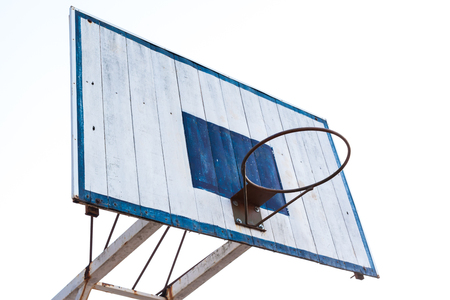 Basketball hoop on blue wood and white iron structure base