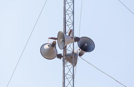 Out door loudspeakers against the sky.