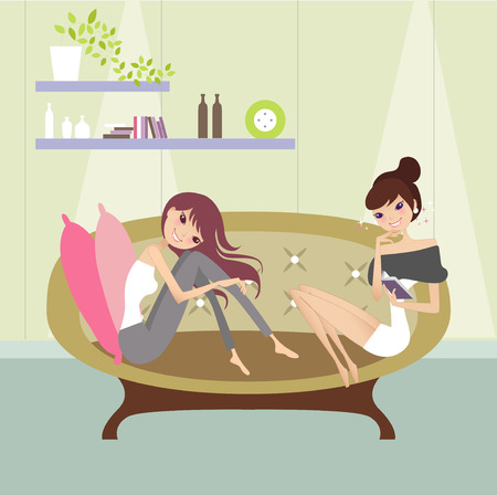 relaxing at sofa Illustration