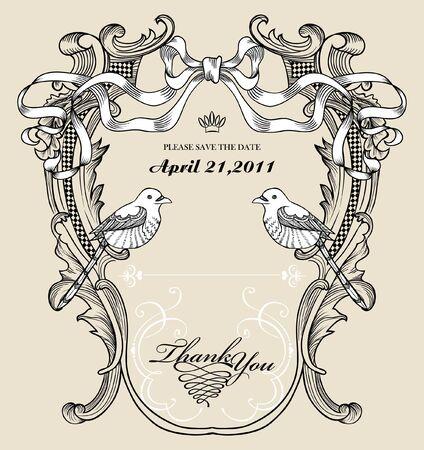 vintage floral card with birds Vector