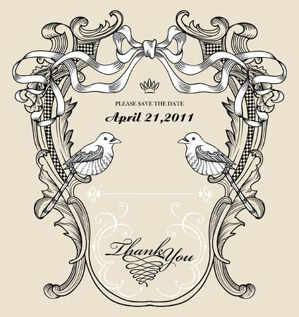 vintage floral card with birds Vector