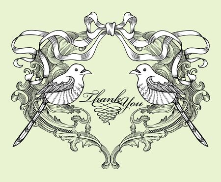 pair of birds card Vector