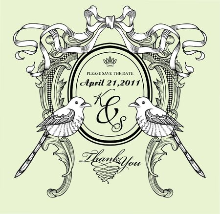 card with ribbon and vintage style Vector