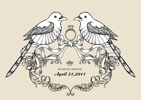 wedding card with pair of bird Vector