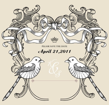 sweet card best for wedding invitation card Vector